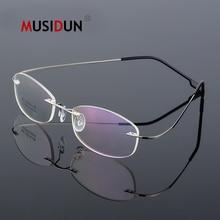 цена на Rimless Optical Glasses Frame Man woman Titanium Eyeglasses Frame Myopia Prescription Spectacle Frameless Q865