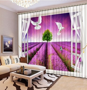 3D lifelike Window Decoration Curtains purple cherry blossoms Window Curtain 3D Sheer Curtain For The Bedroom