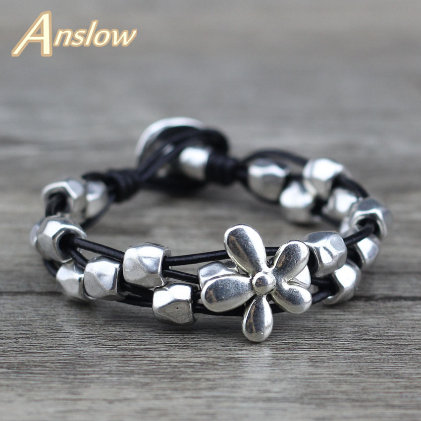 Anslow New Design Lucky Flowers Antique Silver Plated Female Women Men Leather Bracelet Mothers Day Black Friday LOW0654LB