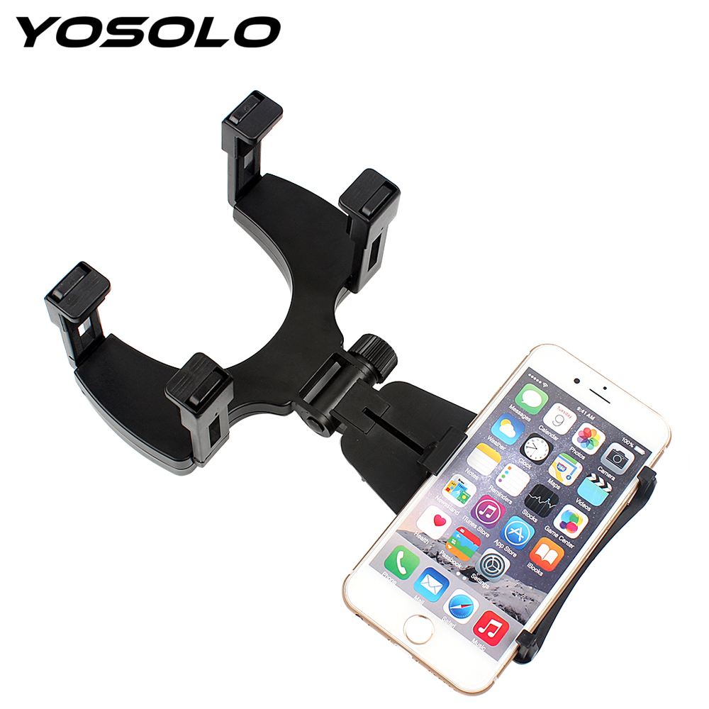 YOSOLO 360 Degrees Rotating For MP4 GPS PDA Car Mobile Phone Holder Stand Cradle Car Rearview Mirror Mount Holder Car-styling