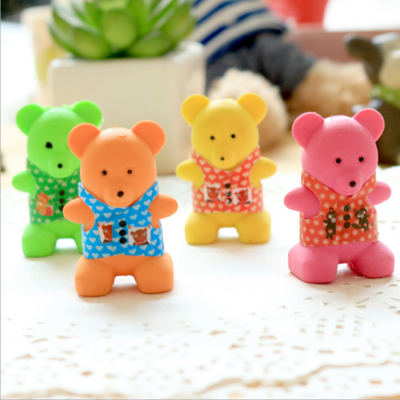 1X Kawaii Colour bear cute animal modelling rubber eraser Korean creative stationery kindergarten primary school students prizes