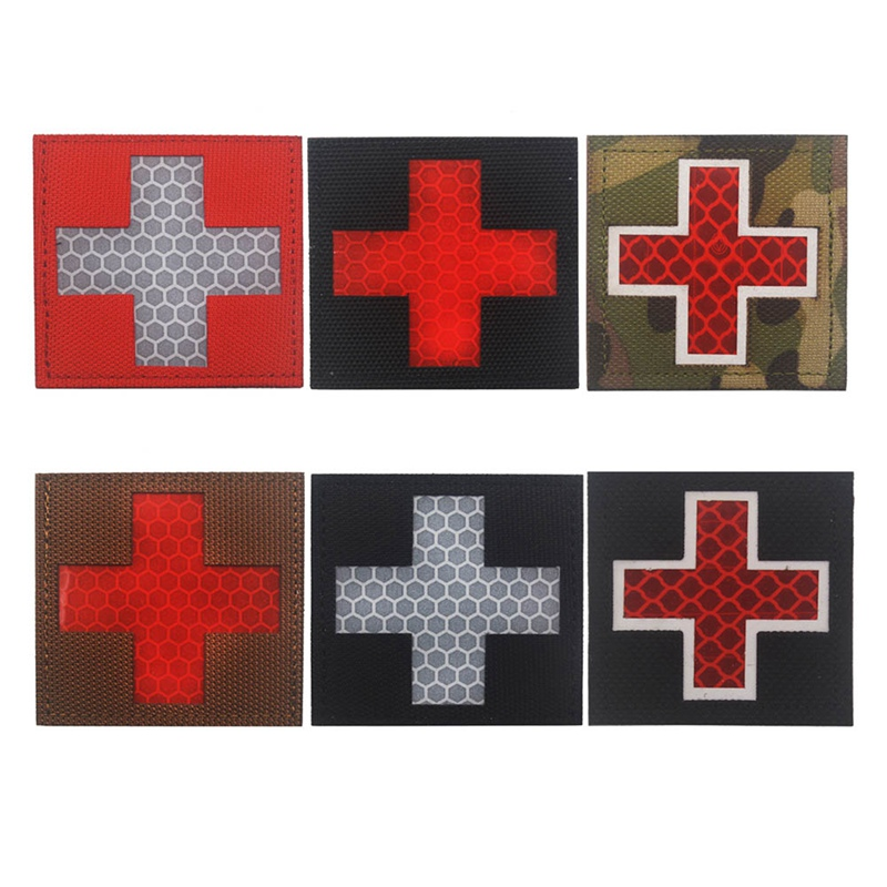 Reflective Medic Multicolor Cross Medical Rescue IR Chapter Army Badge Tactical Morale Patches  Hoop&Loop