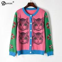 JOYDU Runway Design Knit Cardigan Sweater 2018 New Spring Knitting Snake Cat Pattern Novelty Jumper Lady Top pull sueter mujer