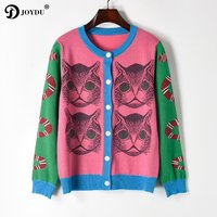 JOYDU Runway Design Knit Cardigan Sweater 2018 New Spring Knitting Snake Cat Pattern Novelty Jumper Lady Top pull sueter mujer