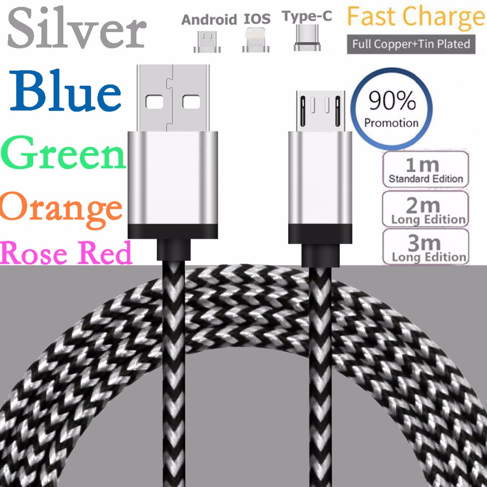 1m/2m/3m Aluminum Braided Weave Charging Cable Micro USB/Type-C/iOS Sync Data Cord For Apple iPhone x 6 7 8 For Samsung S9 S9+