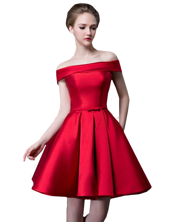 MDBRIDAL Satin Red Cocktail Dress Off Shoulder Lace up Women ...