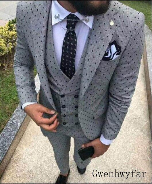 2019 männer der Poika dot Anzug 3 Stück neuesten mantel hose designs Kerbe Revers Smoking Groomsmen Für Hochzeit/party (Blazer + weste + Hosen)-in Anzüge aus Herrenbekleidung bei  Gruppe 1