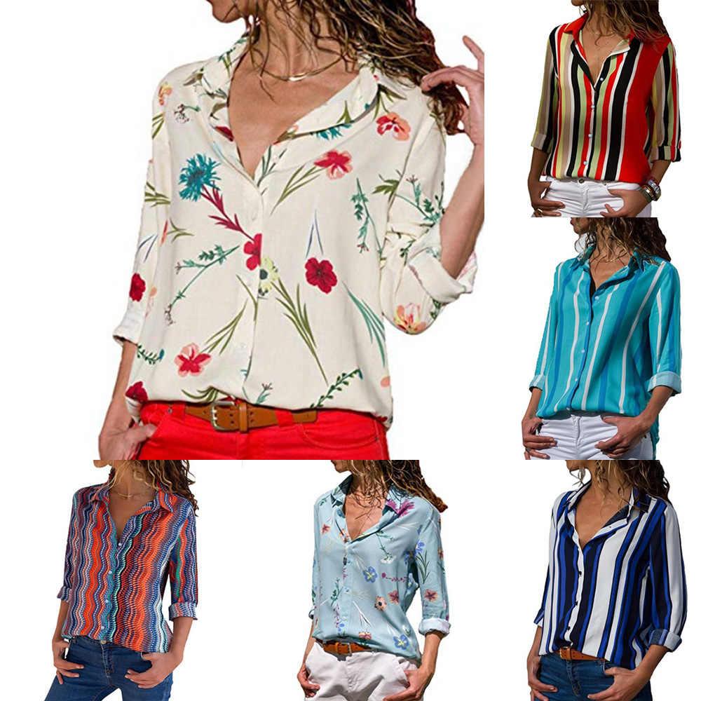 c10bfe29 LAAMEI Long Sleeve Women Shirts V Neck Floral Print Button Down Casual  Summer Autumn Women Long