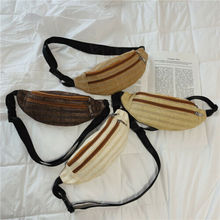 Women Straw Waist Fanny Pack Belt Bags Pouch Travel Hip Bum Bag Woven Purse Travelling Mobile Phone Bag Waist Packs Chest Bag aireebay waist pack for men women fanny pack big bum bag hip money belt travel bags mobile large capacity 2019 male phone bag