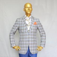 wales plaid two-piece suit, grey/blue/black/white,single breast button 2,nortch lapel,tailor made man's MTM suit free shipping