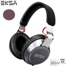 EKSA kablosuz Bluetooth 5.0 kulaklık 500mAh kablolu mikrofonlu kulaklık ses kontrolü CVC6.0 gürültü aşırı kulak telefonları için