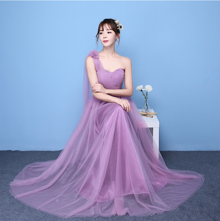Long Beautiful One Shoulder Sweet Formal Bridesmaid