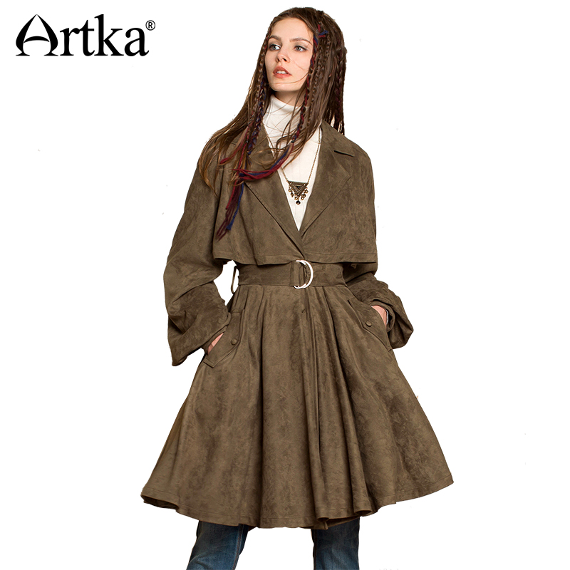 ARTKA Autumn Women   Trench   Lantern Sleeve Women's Long   Trench   2018 Suede Overcoat Elegant   Trench   Female Loose Outwear WA10272Q