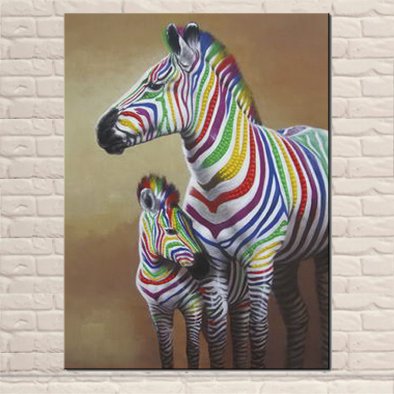 Lovely colorful zebras canvas painting large size acrylic for Poster jugendzimmer