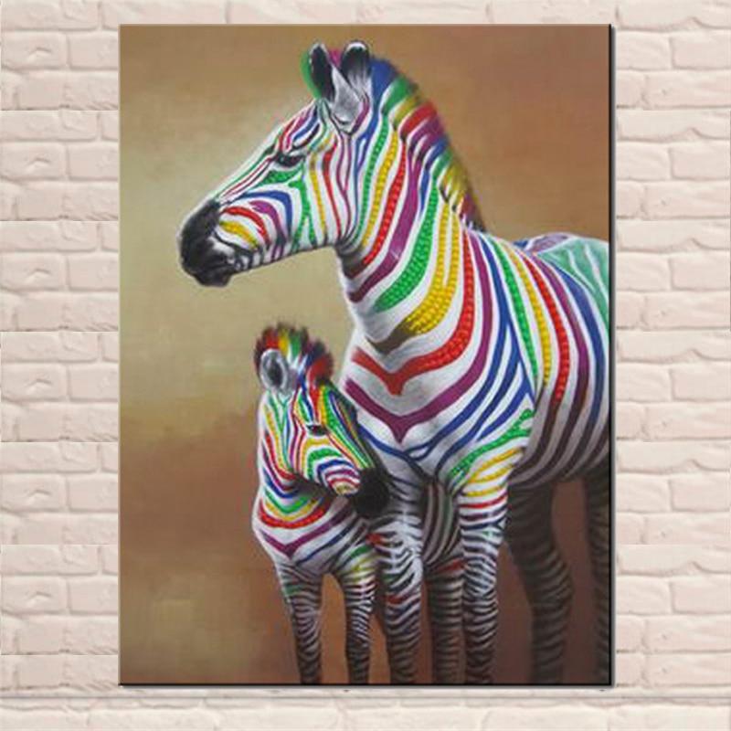 Schöne Bunte Zebras Leinwand Malerei Große Größe Acryl Strukturierte ...
