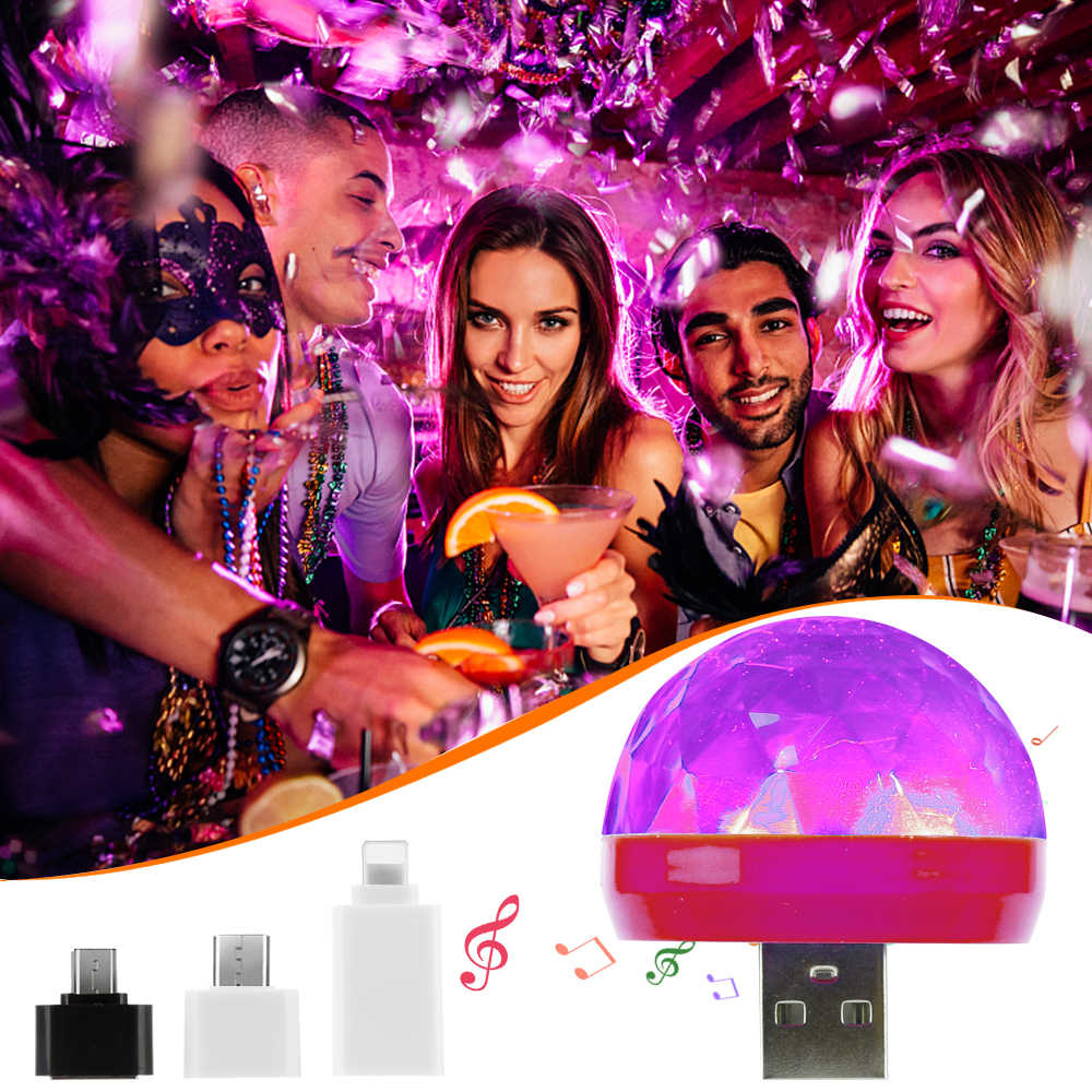 Mini Portable Stage Disco ball Lights Android / Huawei / Apple USB plug user-friendly matching adapter dj light