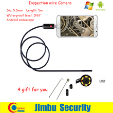Newest 5M 2IN1 and PC Lens 5.5mm mini endoscope borescope inspection wire android camera IP67 waterproof level
