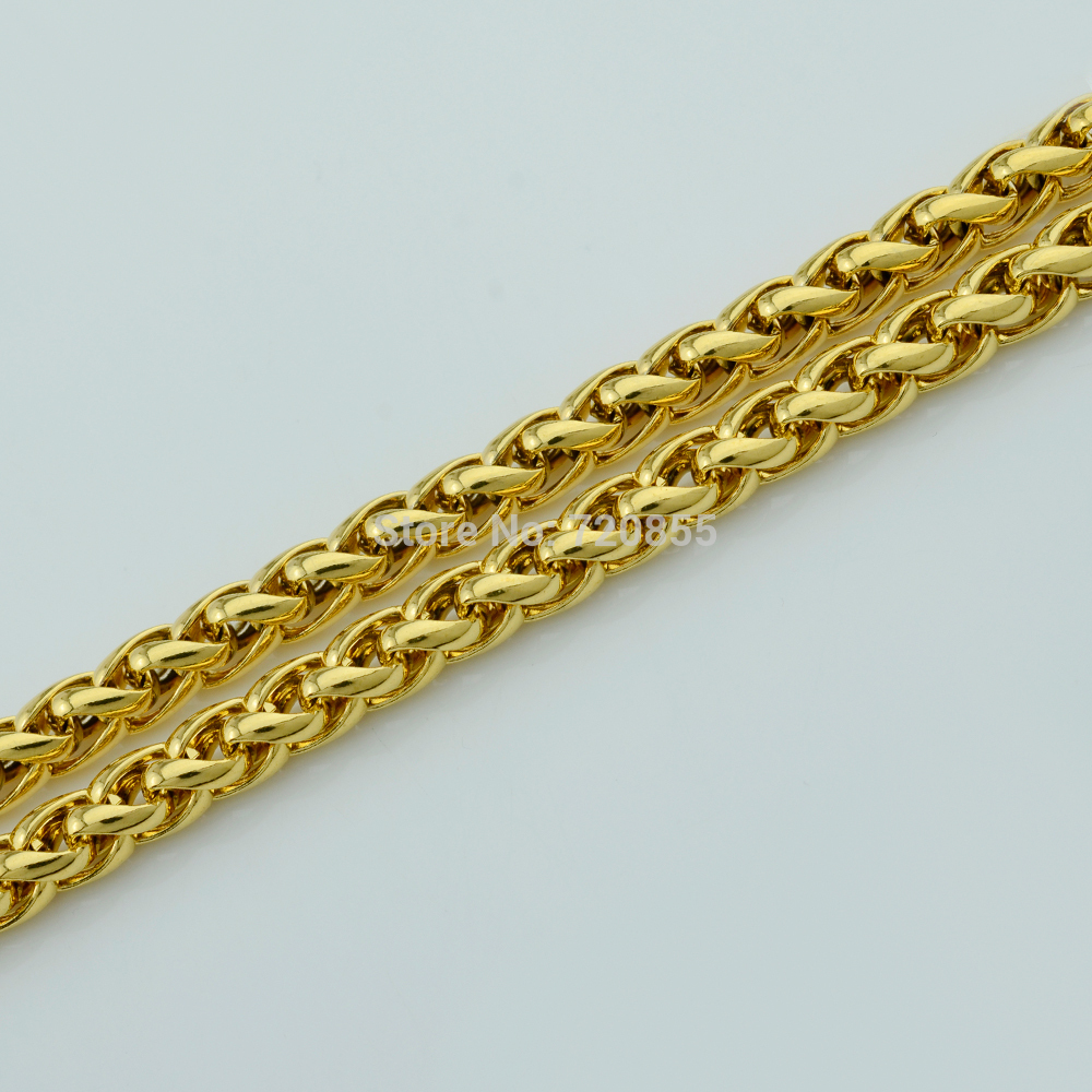 Gold Filled Bracelets Wheat Style Link Chain Yellow Gold Plated