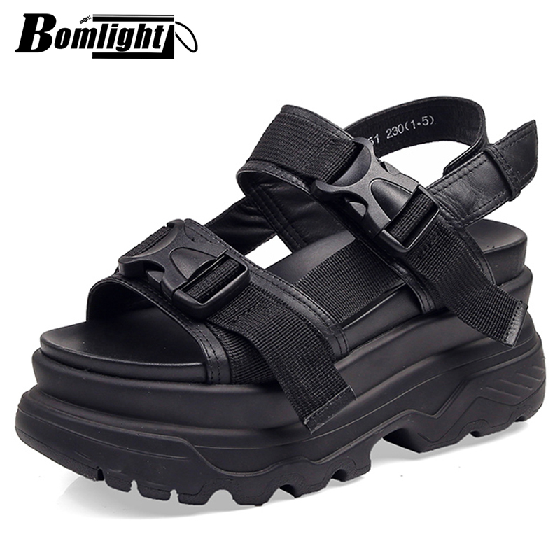 8cm Platform Sandals Women Wedge High Heels Shoes Women Buckle Leather Canvas Summer Zapatos Mujer Slippers Woman Sandal Shoes