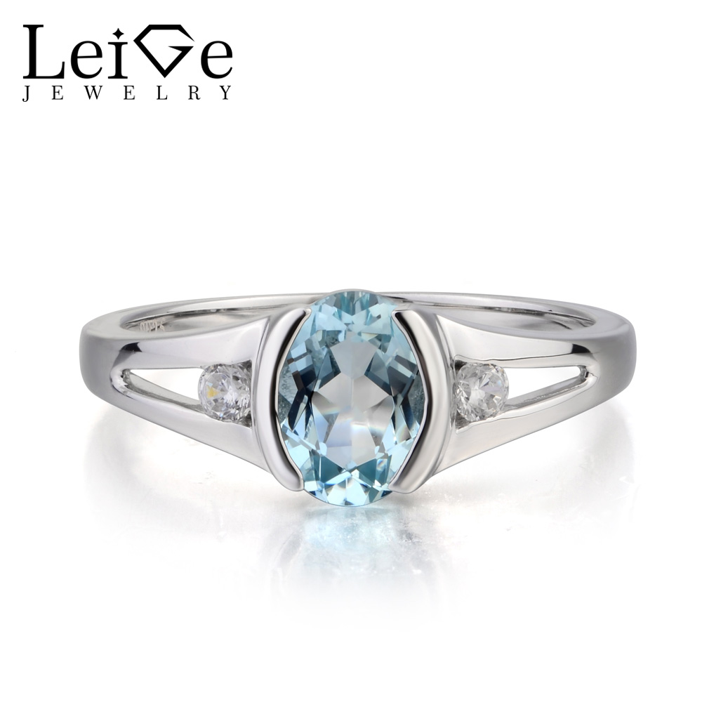 Leige Jewelry March Birthstone Natural Aquamarine Ring Engagement Ring Oval Cut Gemstone 925 Sterling Silver Ring for GirlfriendLeige Jewelry March Birthstone Natural Aquamarine Ring Engagement Ring Oval Cut Gemstone 925 Sterling Silver Ring for Girlfriend