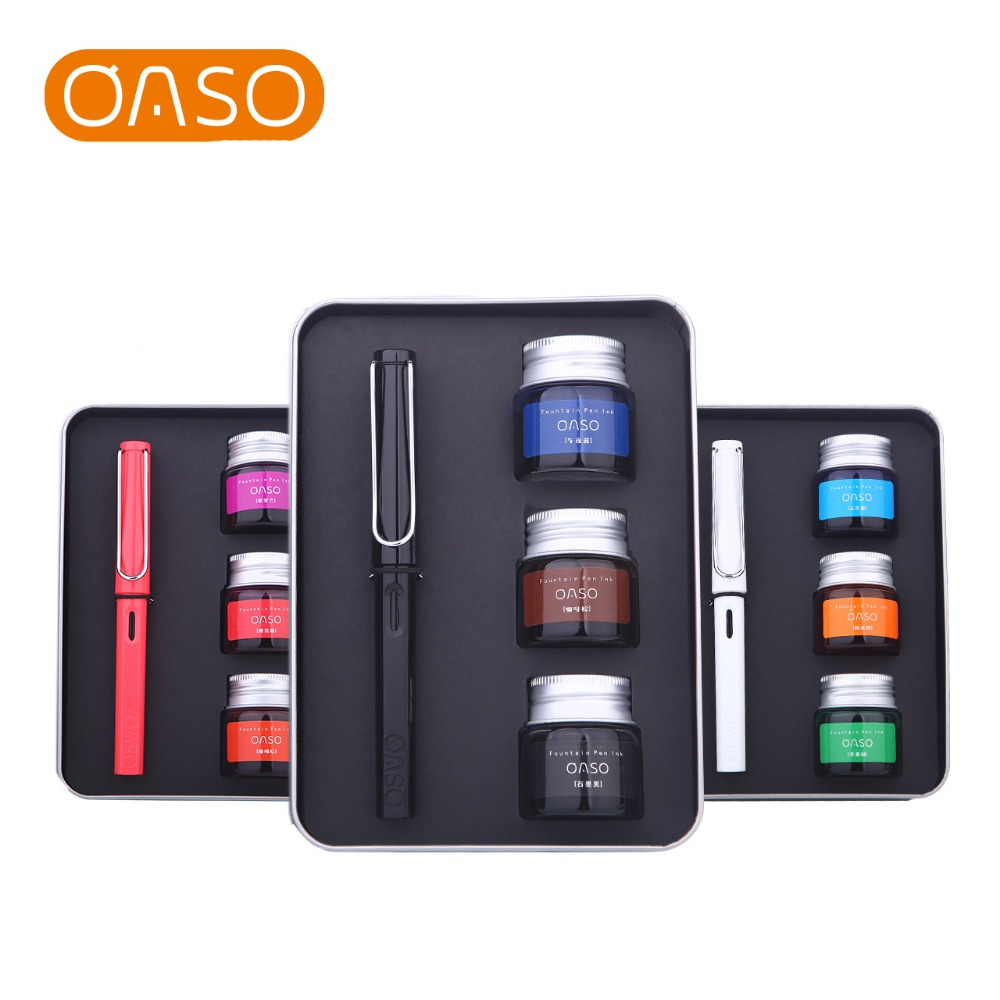 ФОТО NEW Promotion OASO C13 Transparent 0.38mm Resin Fountain Pen with 3 Bottle Colours Ink Pens Gift Box Set Free Shipping