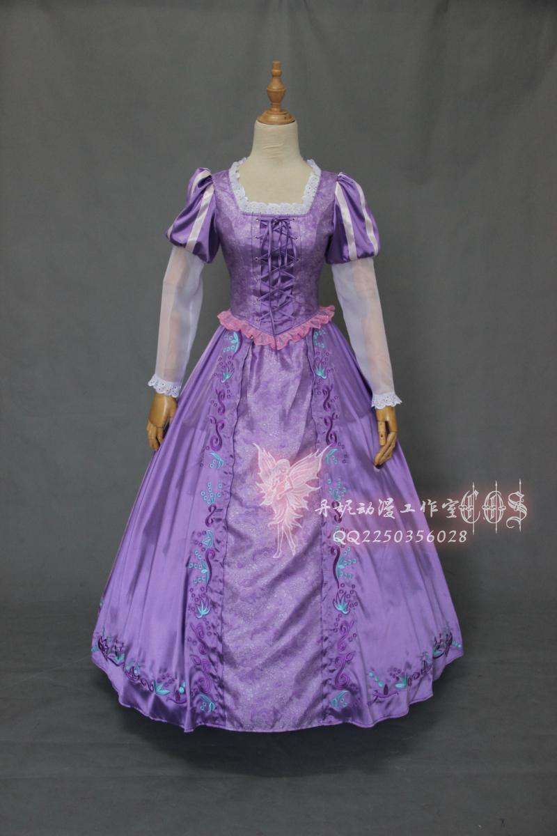 2012 Anime Rapunzel Tangled New Adult Outfit Fancy Dress Cosplay Costume Princess Fairytale image