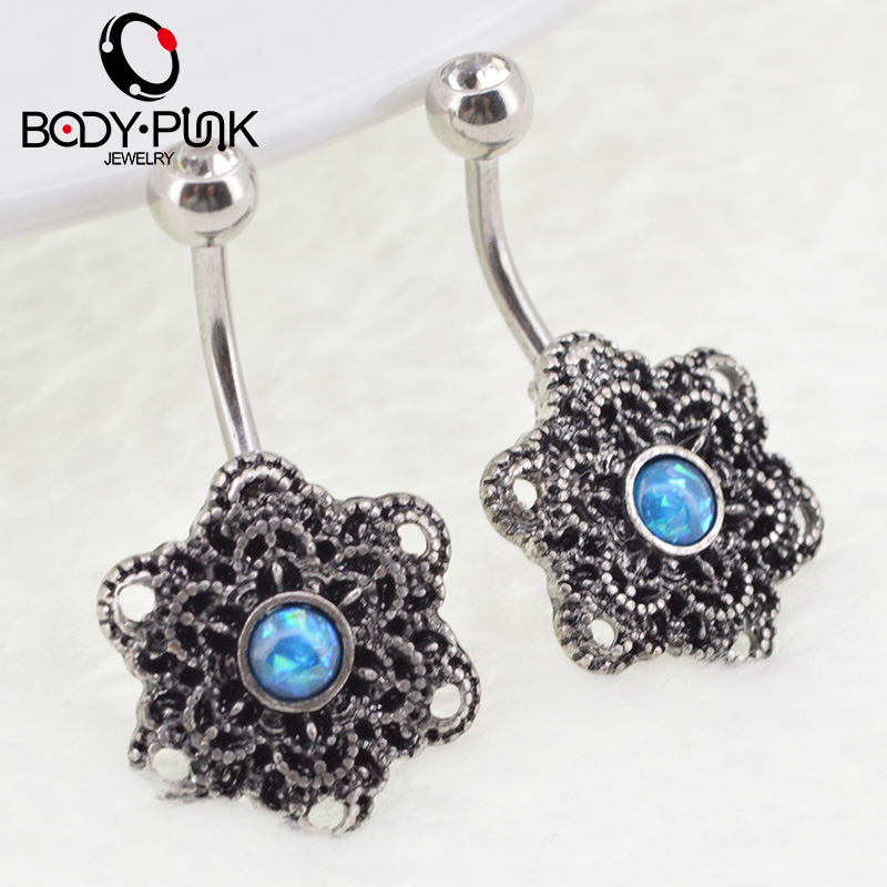 TUBUH PUNK Trendy Belly Button Rings Burnished SS Mandala Opal Kurva - Perhiasan fashion - Foto 4