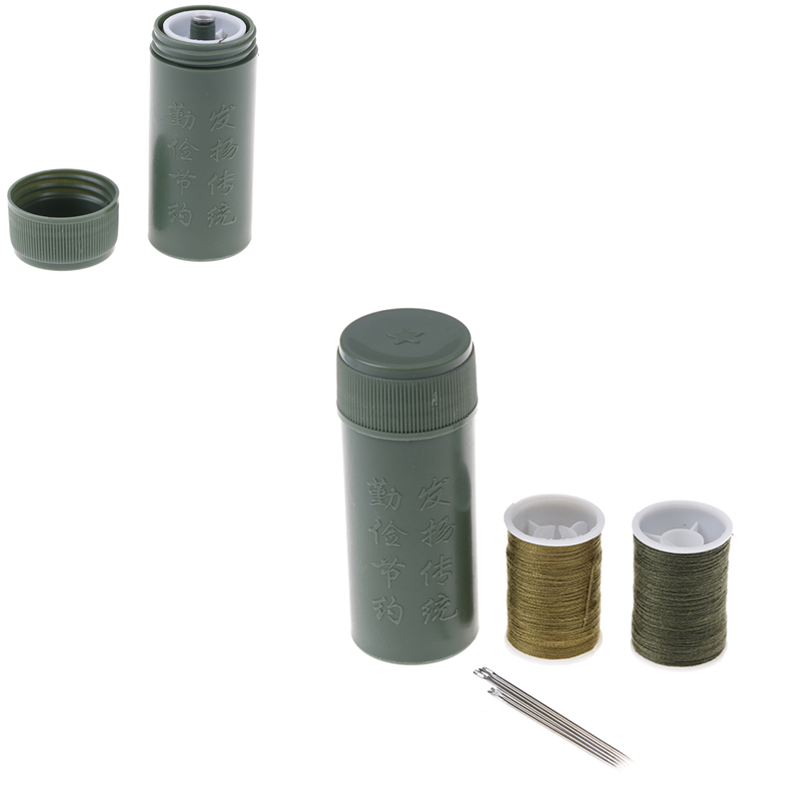 Army Green Mini Stainless Steel Sewing Kit Cylinder Case Portable Travel With Threads Needles Craft Sewing Tools Box Set HOT!