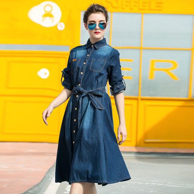 1286d860e17 Women Long Denim Shirt Dress Female Bow Sashes Slim Jeans Dress Long Sleeve  Denim Turn down Collar Midi Dresses