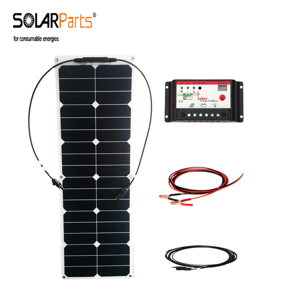 12v cable cell Solarparts solar ETFE for battery panel power controller car/RV/yacht soalr flexible charge generation 40w system solarparts 100w diy rv marine kits solar system1x100w flexible solar panel 12v 1 x10a 12v 24v solar controller set cables cheap