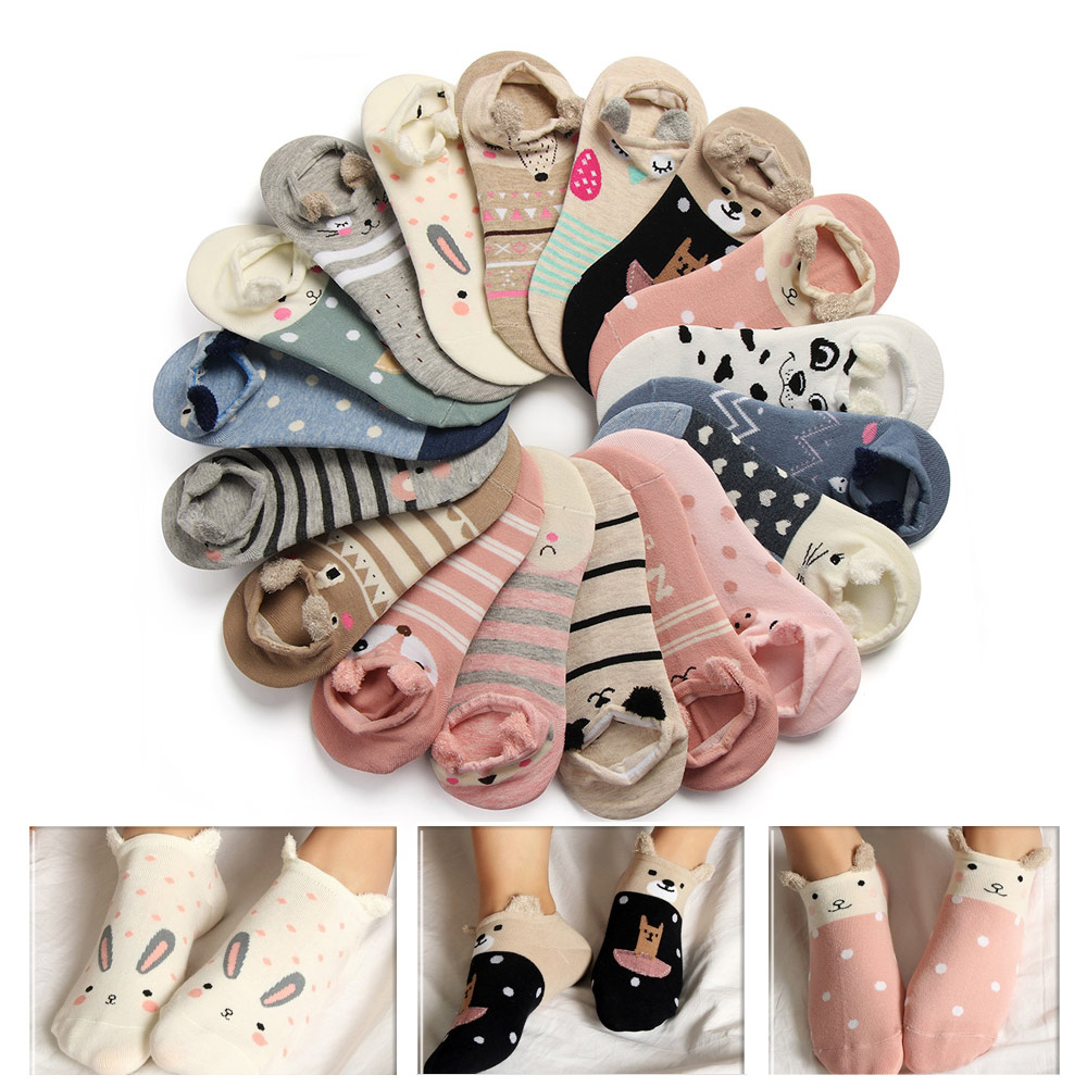 1 Pair Summer 3D Lovely Soft Ankle Socks For Women Girls Cute Cartoon Animal Cotton Warm Socks Harajuku Ankle Sox Low Cut Sock