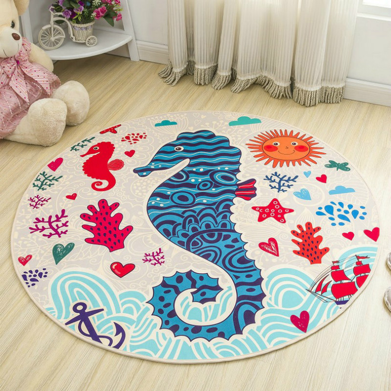 WINLIFE Round Cartoon Style Kids Carpets Anti-Skid Rugs For Bedroom/Bathroom Competer Chair Mats Cute Animals Rugs