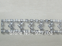 CM235 1yds Clear Rhinestone Crystal Chain Costume Applique Trims Sewing