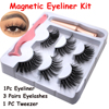 3 Pairs Magnetic Eyelashes With 1Pc Magnetic Eyeliner and Eyelashes Tweezer 2