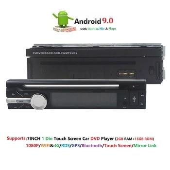 2 GB RAM tek 1din 7 inç dokunmatik ekran 4G WIFI Android 9.0 Araba GPS FM Radyo Stereo kafa ünitesi medya Oynatıcı BT USB SD RDS SWC DAB +