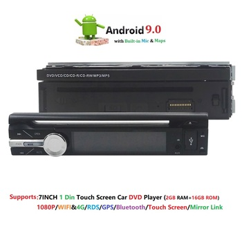 2 GB de RAM solo 1din 7 pulgadas de pantalla táctil 4G WIFI Android 9,0 coche GPS FM Radio Estéreo unidad de cabeza reproductor de medios BT USB SD RDS SWC DAB +