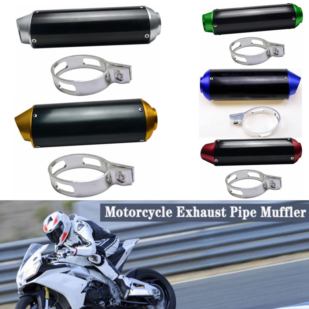Pit Dirt Bike CNC EXHAUST Muffler Steel Silencer 110cc 125cc 140cc Red End Cap