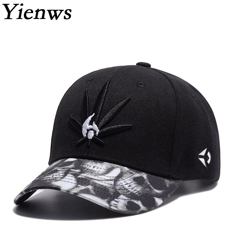 Yienws New Fashion Embroidery Male Baseball Cap Brand Curved Hip Hop Bone Gorras Femme Weed Hat Black Trucker Cap YIC480