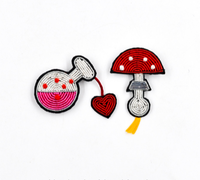embroidery india silk pin on patches for clothing brooch mushroom badge designer patches for jeans parches bordados para ropa