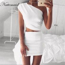 NATTEMAID 2017 New Arrival Mulheres Evening Partido Sexy Vestido Bodycon um ombro branco vestidos de Meninas Senhoras Lápis Curto Vestidos