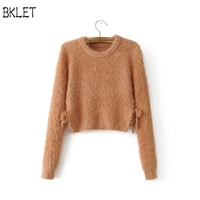7042d4b884 2018 New Autumn Women Wool Cropped Jumpers Fluffy Mohair Hollow Out A Bow  Tie Sweater Mujer. 2018 Nova Outono Mulheres ...