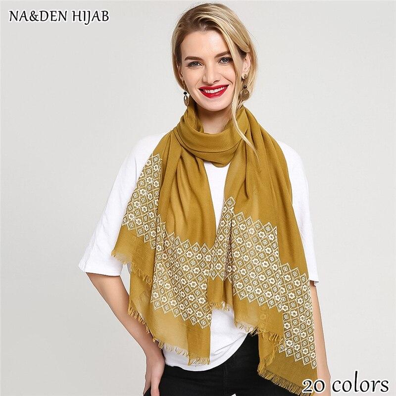NEW embroider flower scarf hijab plain maxi hijab fashion hijab luxury women scarves shawls brand soft muffler islamic hijabs