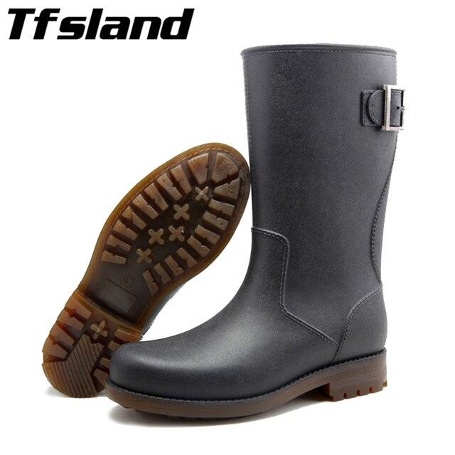 1757b00ab00 Alemão dos homens Fivelas de Alta Botas de Chuva Galochas Rainboots Sapatos  de Borracha À Prova