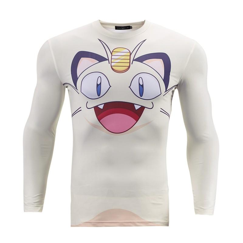 e0ef485a Pokemon Shirt Anime Meowth Mens Long Sleeve Tight T shirt Slim Fit Clothing  Camiseta Tshirt Homme Pokemon Go