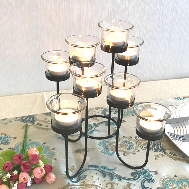 Candle Holder Table Metal Candlestick Geometric Retro Candle Holders Romantic for Wedding/Dinner Decoration Candelabra GZT086 2
