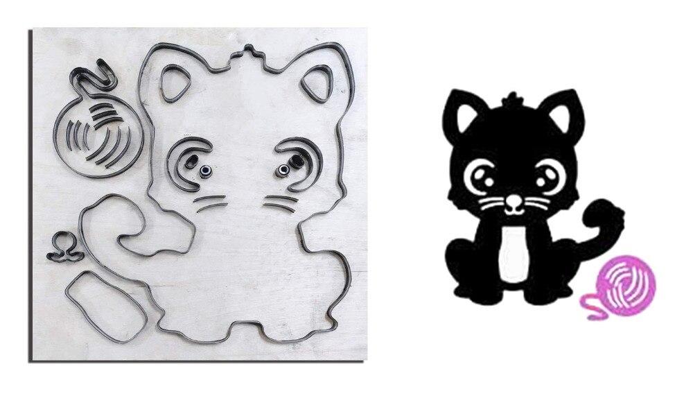 Laine avec chaton découpe bricolage bois moule découpé accessoires pour cuir, papier, feutre, acier poinçon-artisanat en cuir