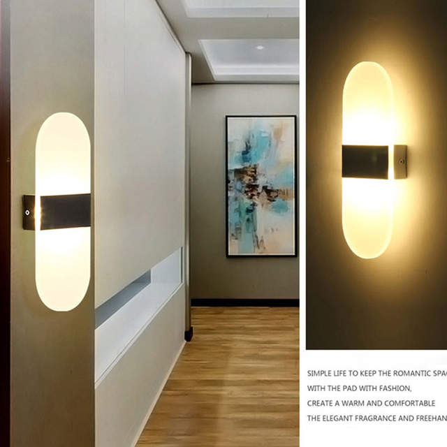 US $6 87 26% OFF Modern led Acrylic wall lamp AC85 265V Diffuse light Wall  Mounted bedroom bedside Corridor light foyer study decoration Lights-in LED