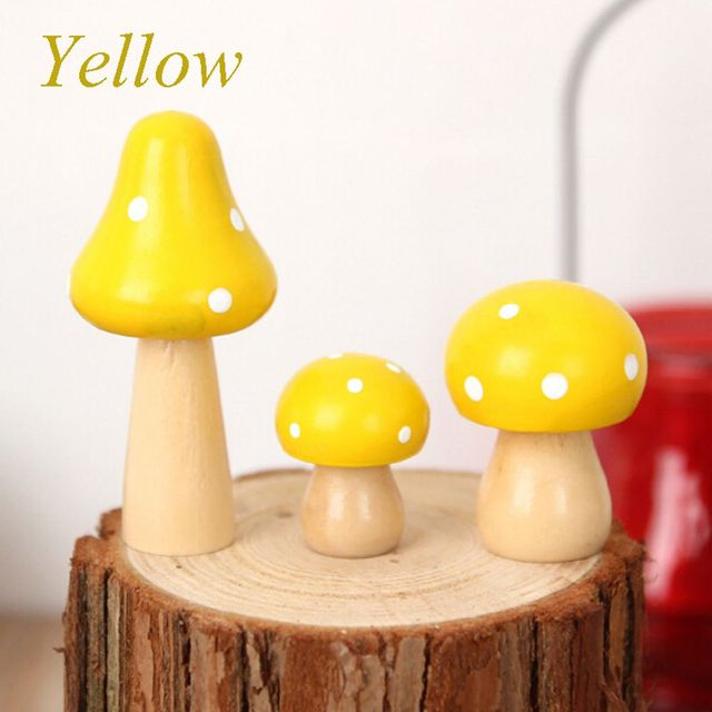 Awesome 3 Pcs/Set Brand New Wood Mushrooms Miniature Fairy Garden Home Decoration  Craft Micro Landscape