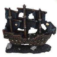שרף קישוט האקווריום קישוט אקווריום מלאכותיים שקוע סירה פגום ספינה אקווריום דגי שרימפס אבן רוק 21x8x18 ס