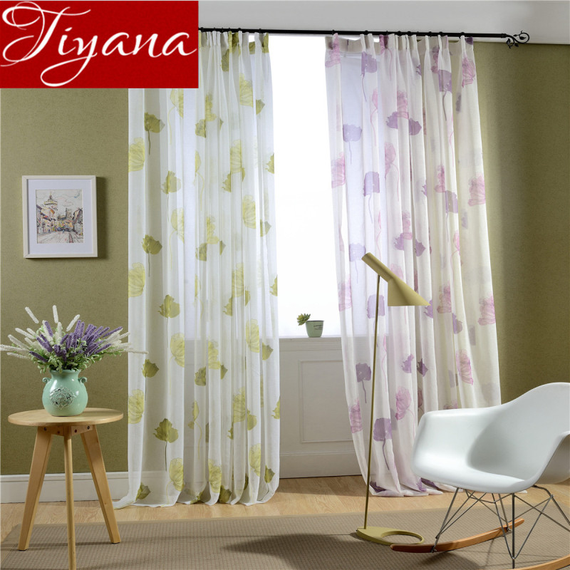 Rustic curtains floral print sheer sheer voile window living room room curtains kitchen for Lavender curtains for living room